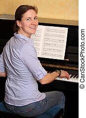 piano, mujer, juego