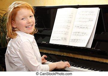 niña, juego, piano