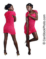 African woman in pink mini dress