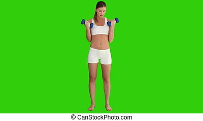 Athletic woman doing a fitness workout - Chroma-key footage...