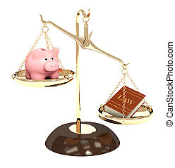 Law and money - Piggy bank, gold scales and code of laws....