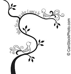 Love birds - 2 love birds in a tree with calligraphic text