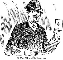 The three card trickster engraving illustration - The three...