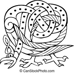 Celtic design with knotted lines of a bird