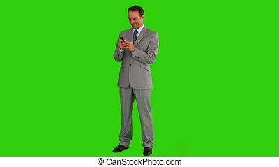 Businessman in suit writing a new message - Chroma-key...