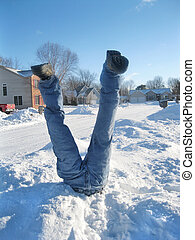 Snow Fun - Man stuck in a snowbank.