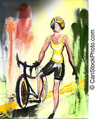 Girl with bicycle Sport theme Black and white My own drawing...