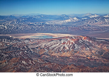 aerial view of volcanoes in Atacama desert, Chile