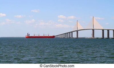 Freighter Skyway Bridge - Freighter approaches the Bob...