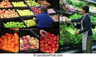Produce Market Composite - Fresh produce market montage