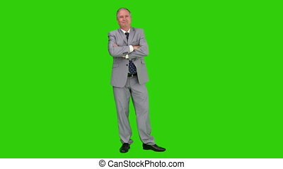 Elderly businessman in a gray suit looking at the camera...