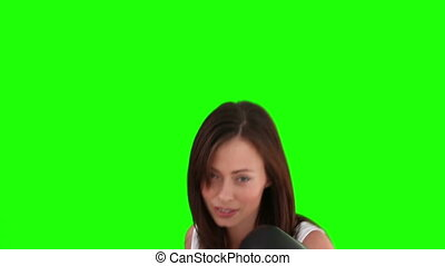 Pretty brunette lady with box gloves - Chromakey footage of...
