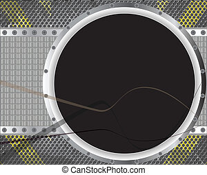 Round black screen in metal frame
