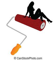 girl on roller illustration