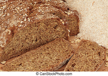 Soda Bread - Soda bread in slices with wholemeal flour.