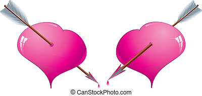 Two glitter pink hearts pierced by an arrows, vector illustration