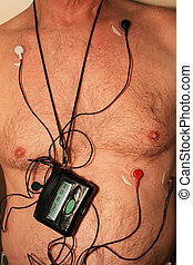 harness cardiac monitor - torso of old man wearing a 5 lead...