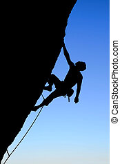rock climber silhouette - silhouette of rock climber...