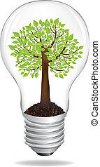 Eco Concept - Tree In Light Bulb, Eco Concept, Isolated On...