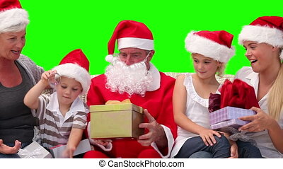 Christmas in a family with Santa Claus - Chromakey footage...