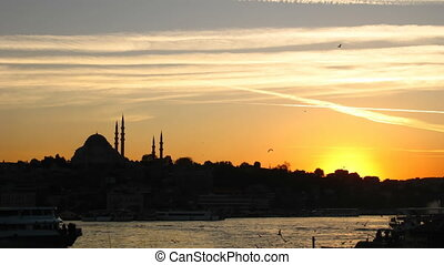 Time lapse Istanbul sunset - Time lapse sunset at Bosporus...