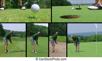 Golf Player Composite - Montage of golf player putting and...
