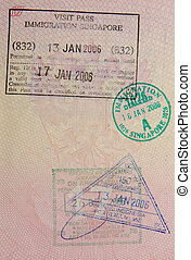 passport with singaporean stamps