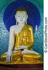 Buddha, estátua, Shwedagon, pagode, Yangon, Myanmar