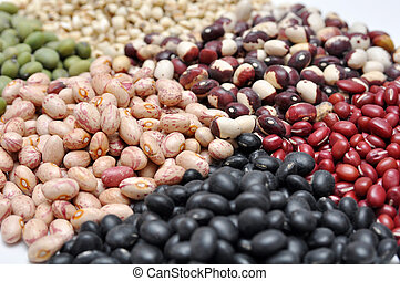Whole grains on the white background