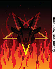 Devil goat - Goat head in a pentagram surrounded by flames