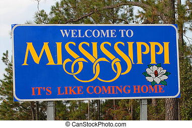 Mississippi wecoming sign along a highway - A Mississippi...