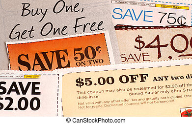 A variety of clipped store advertisement coupons - Variety...