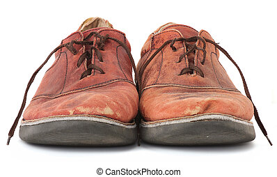Shabby Shoes - Pair of very worn old leather dress shoes...