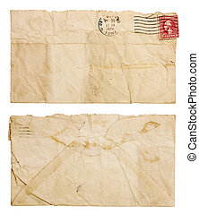 Old, Wrinkled Envelope - The front and back of a blank,...