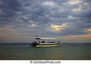 geankert, boot,  bali, meer