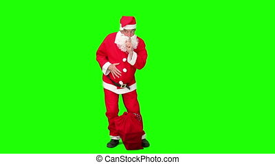 Santa Claus in costume - Chromakey footage of a Santa Claus...