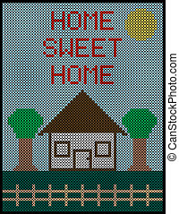 Home Sweet Home Cross Stitch Background