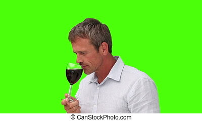 Casual man in shirt enjoying a glass of red wine