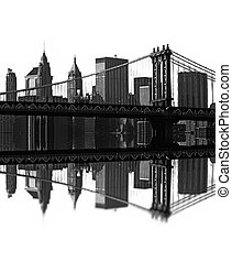 brooklyn bridge, new york, usa - illustration of brooklyn...