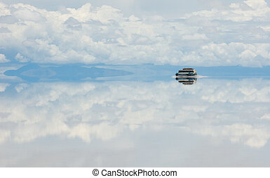 Bus, driving through salt lake, bolivia
