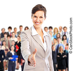 Human resources. Businesswoman and a large group of business...