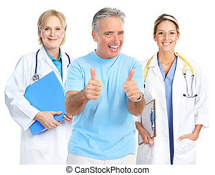 doctor and healthy elderly man - Smiling medical doctors and...