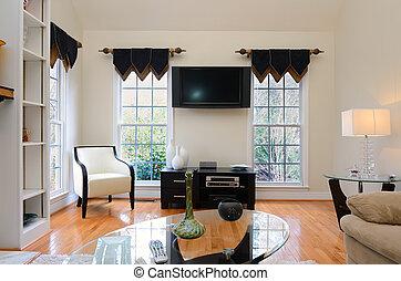 Den Interior - Interior home den with flat screen television