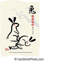 Chinese's Rabbit Year, Ink Painting