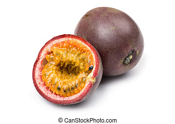 Passionfruit close up - object on white - food Passionfruit...