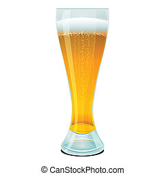 beer in glass - illustration of beer in glass on white...