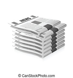 newspapers - illustration of newspapers on white background