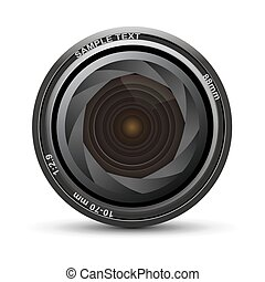 camera lens - illustration of camera lens on white...