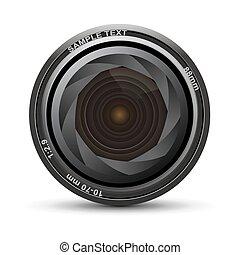 camera lens - illustration of camera lens on white...