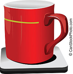 Red cup of coffee. Vector illustra